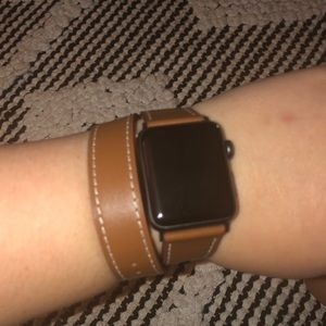 V-MORO Leather Double Wrap Apple Watch Band